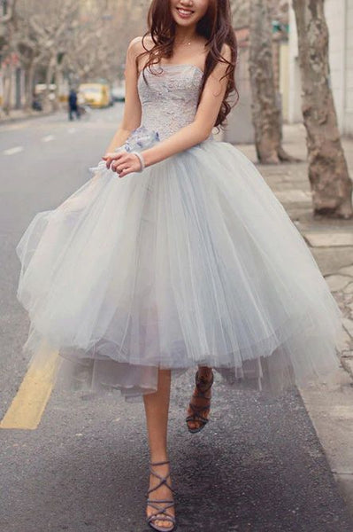 Princess A Line Strapless Grey Tea Length Homecoming Dress S17808