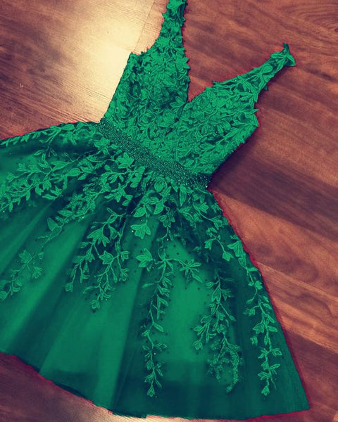 Short green homecoming dresses lace embroidery S13877