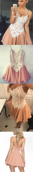 Spaghetti Straps Homecoming Dresses,Short Homecoming Dress,Satin Homecoming Dress With White Lace Appliques S13510