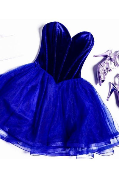 Cute Royal Blue Tulle Short Homecoming Dress S22430
