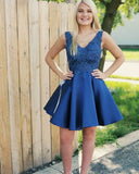 A-line V-neck Beading Satin Blue Short Homecoming Dress S14867