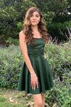 Lace Up Back Green Short Homecoming Dress S15792