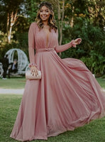 Chiffon Prom Dresses With Long Sleeves  S16072
