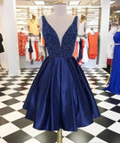 Dark blue v neck short homecoming dress S20175
