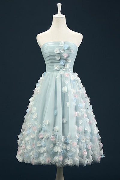 Knee length tulle flowers beaded homecoming dress S22341