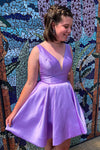Lavender short A-line satin homecoming dress with v neckline S19134