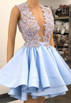 Blue v neck satin beads short A line homecoming dress S13669