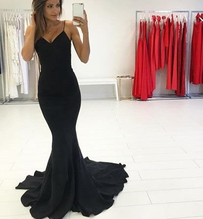 Mermaid Spaghetti Strap Black Long Prom Dress S17860