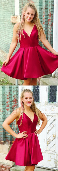 straps v neck short red party dress dancing dress, simple homecoming dress S22530