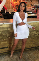 White Long Sleeve Slinky Plunge Top & Mini Homecoming Dress S15776