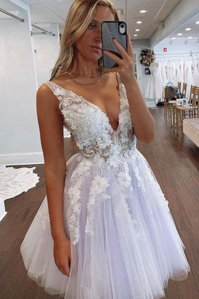 Short A-line lavender tulle and white lace homecoming dress party dress with pluning neckline S14669