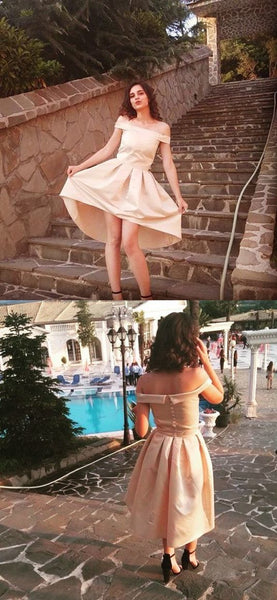 Champagne homecoming dress, off the shoulder homecoming dress S19023