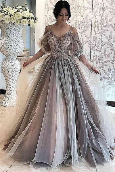 Gray A-line Prom Dress With Long Sleeves S20924