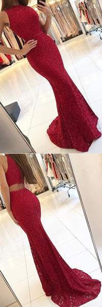 Lace Mermaid Evening Gowns,Long Formal dress,Burgundy Prom Dress  S18791