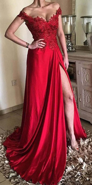 Off the Shoulder Split Front with Lace Red Prom Dress S16046