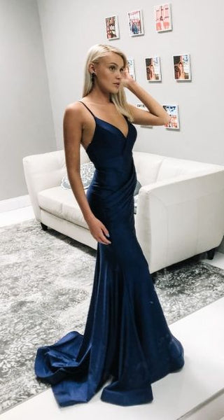 Gorgeous Mermaid Navy Blue Long Prom Dress  S17549