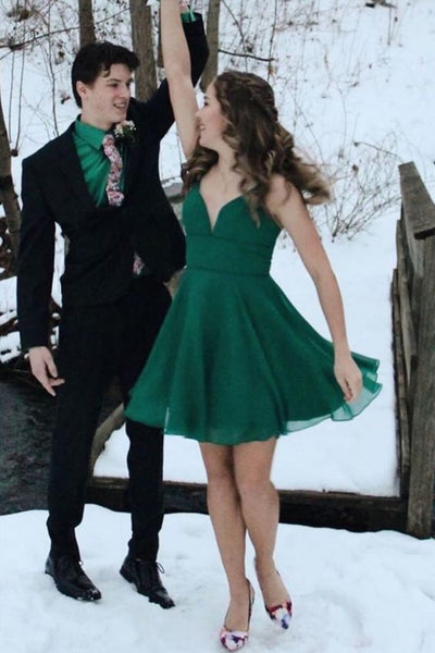 Princess A-line short dark green chiffon homecoming dress ,school dancing party S20619