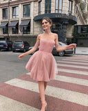 Cute A Line Sweetheart Pink Short Homecoming Dress S17807