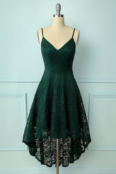 Straps High low Lace Dark Green Homecoming Dress S22928
