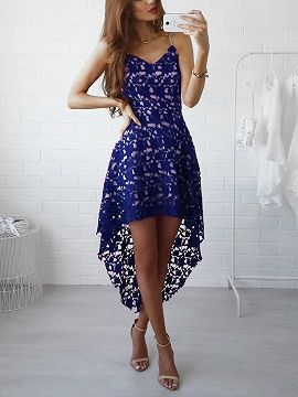 Dark Blue V-neck Hem Spaghetti Straps Lace Homecoming Dress S20675