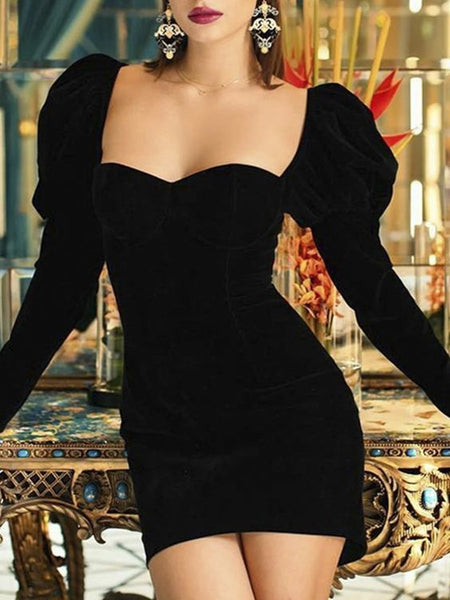 Elegant puff sleeve black short dress Women square neck homecoming dress  S23214
