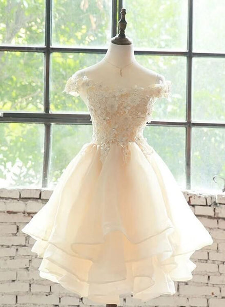 Cute Champagne Organza Layers Knee Length Homecoming Dress with Lace  S13723