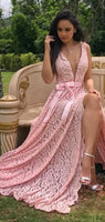 Pink Lace Deep V-neck With Slip Charming Prom Dresses  S16466