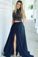Two Piece High Neck Dark Blue Satin Prom Dress with Lace Split  S17097