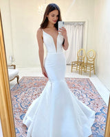 Deep V Neck Mermaid Simple Long Prom Dress  S20950