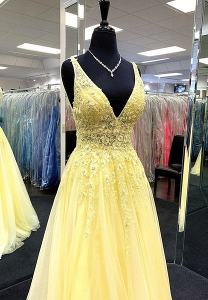 Yellow v neck tulle lace prom dress evening dress S23410