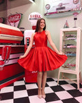Cute A Line Jewel Red Short Homecoming Dress with Ruched S18084