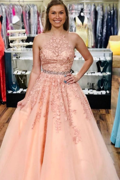 Princess pink lace appliques prom dress with halter neckline S17217