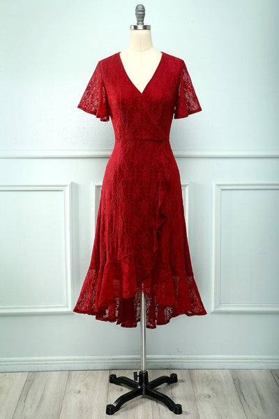 Dark Red Hi-Low Lace Homecoming Dress S16168