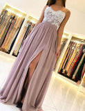 Dusty Pink Chiffon Prom Dresses,Lace Full Length Party Dresses,Spaghetti Straps Prom Evening Dresses with Side Slit S16808