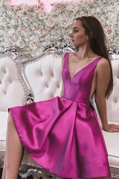 Fuchsia Homecoming Dress, Short Satin Back to School Dresses S15762