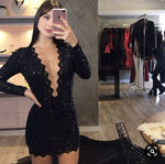 Black V Neck Short Homecoming Dress With Long Sleeves  S14503