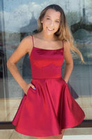 Square Necking Spaghetti Straps Simple Homecoming Dresses S14473