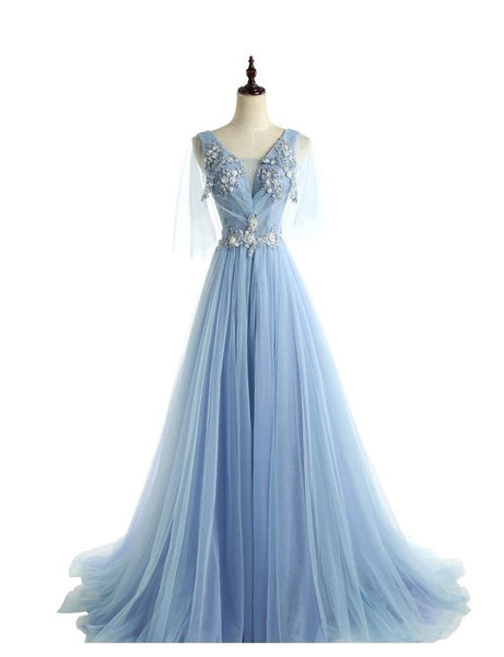 Light Blue Lace Beaded Unique Long Prom Dresses, S15952