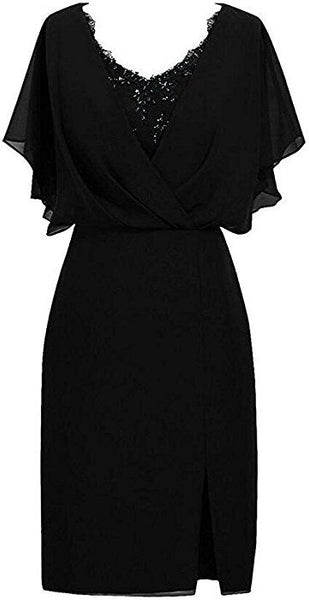 Black Sleeve Short Homecoming Dress Chiffon Formal Evening Party Gowns S17754