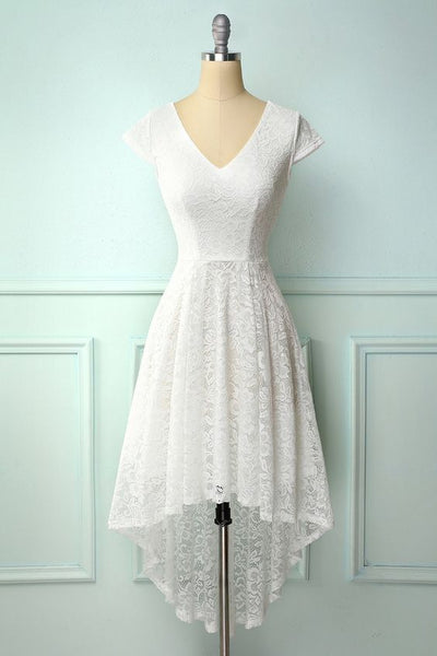 White High Low Lace Homecoming Dress  S17534