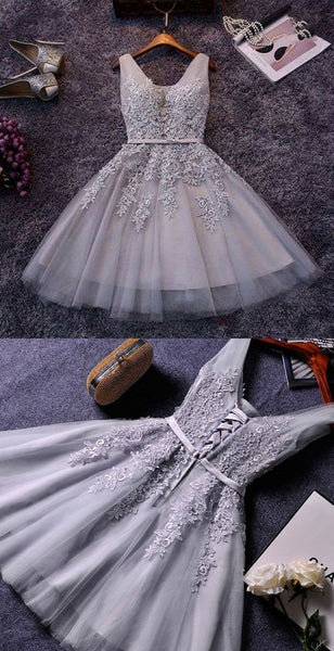 Cute A-line grey lace short homecoming dresses S18345