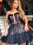 Black Short Tulle Homecoming Dress S23046