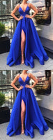 V Neck Royal Blue Prom Dress with Leg Slit, V Neck Royal Blue Floor Length Long Formal Evening Dress S16456