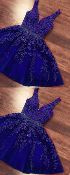 short purple lace homecoming dresses elegant  S13876