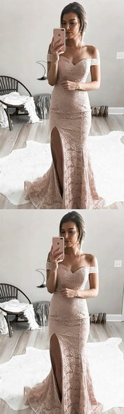 Elegant Mermaid Off The Shoulder Long Dirty Pink Lace Prom Dresses With Slit S17649