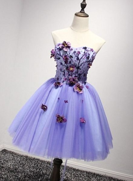 Lovely Purple Sweetheart Flowers Homecoming Dress S14440