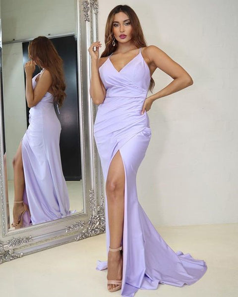 Light Purple Ruched Mermaid Spaghetti Straps Prom Dress with Slit  S16412