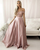 Pink lace long prom dress two pieces evening dress  S17356
