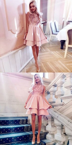 A-Line Bateau Sleeveless Blush Short Homecoming Dress with Appliques S13509