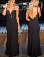Spaghetti Straps Long Backless Sheath Black Prom Dress with Lace S17069